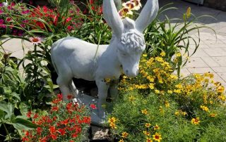 Donkey Statue in Wild Flowers